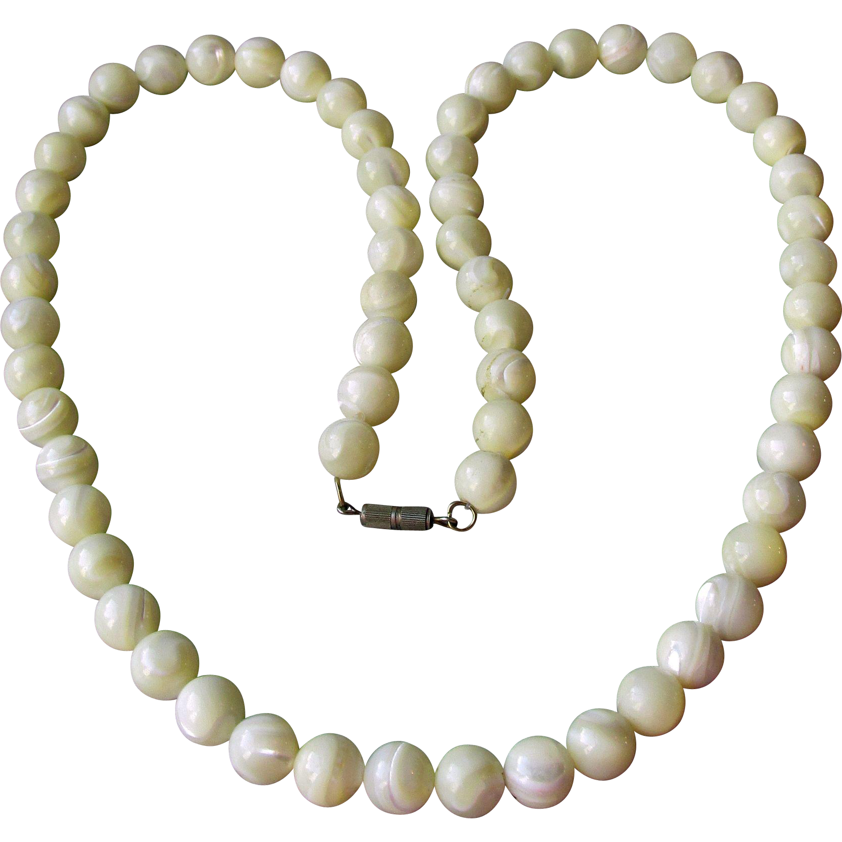 """Chunky Vintage 26"""" Mother-of-Pearl 12mm Bead Necklace"""