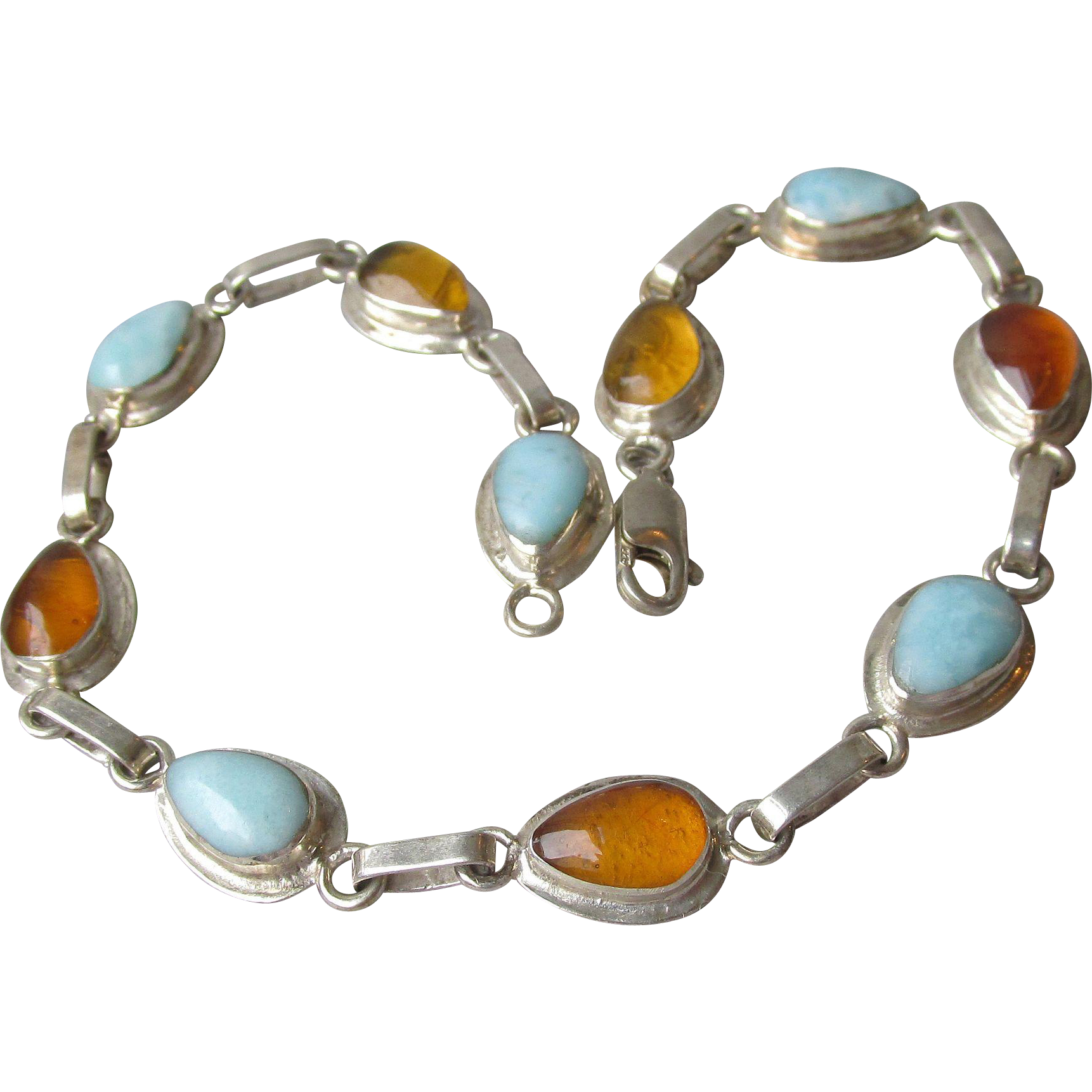 Honey Amber & Amazonite Sterling Silver Vintage Bracelet, Size Large 8 1/2""