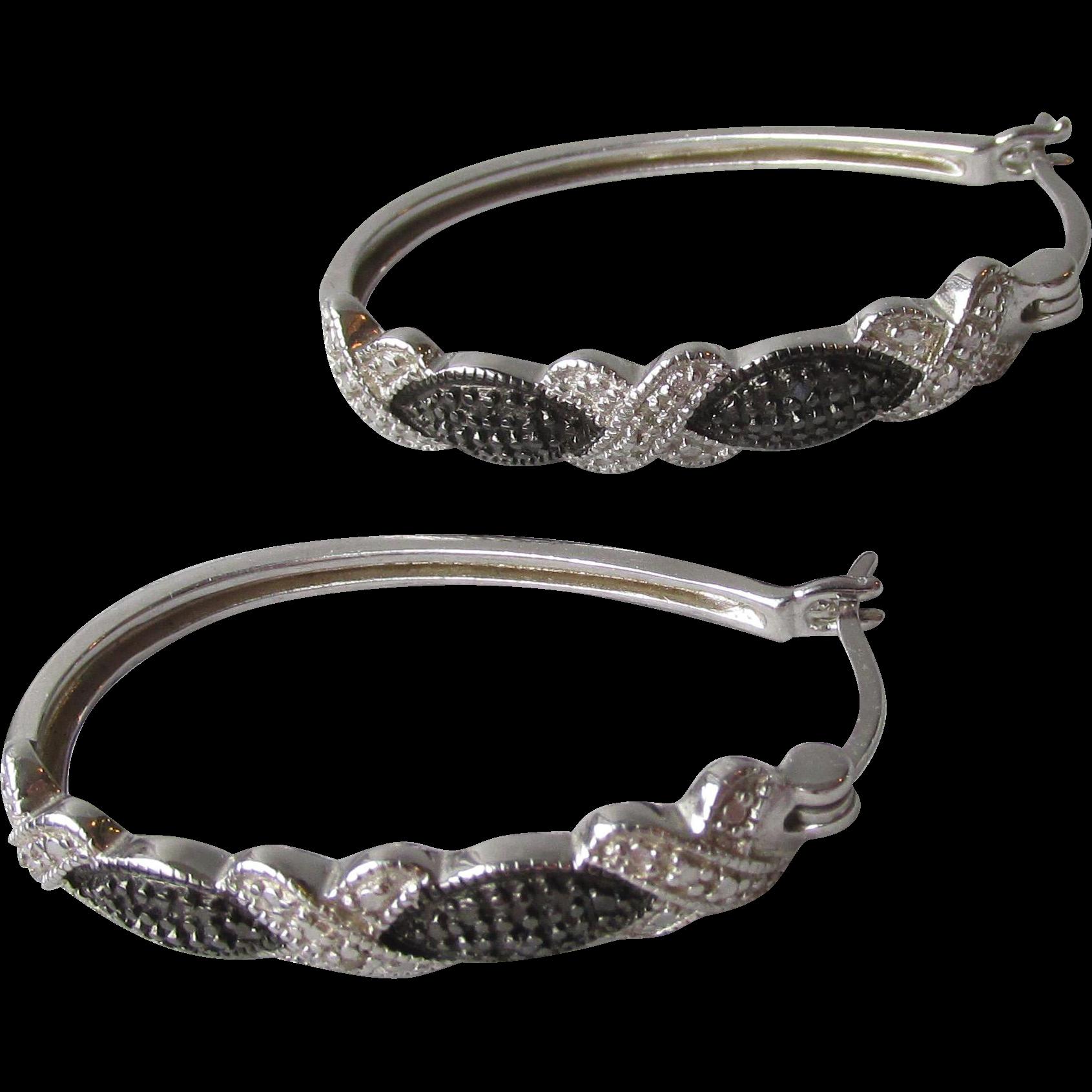 Textured Sterling Silver with Black Enamel Long Oval Vintage Hoop Earrings