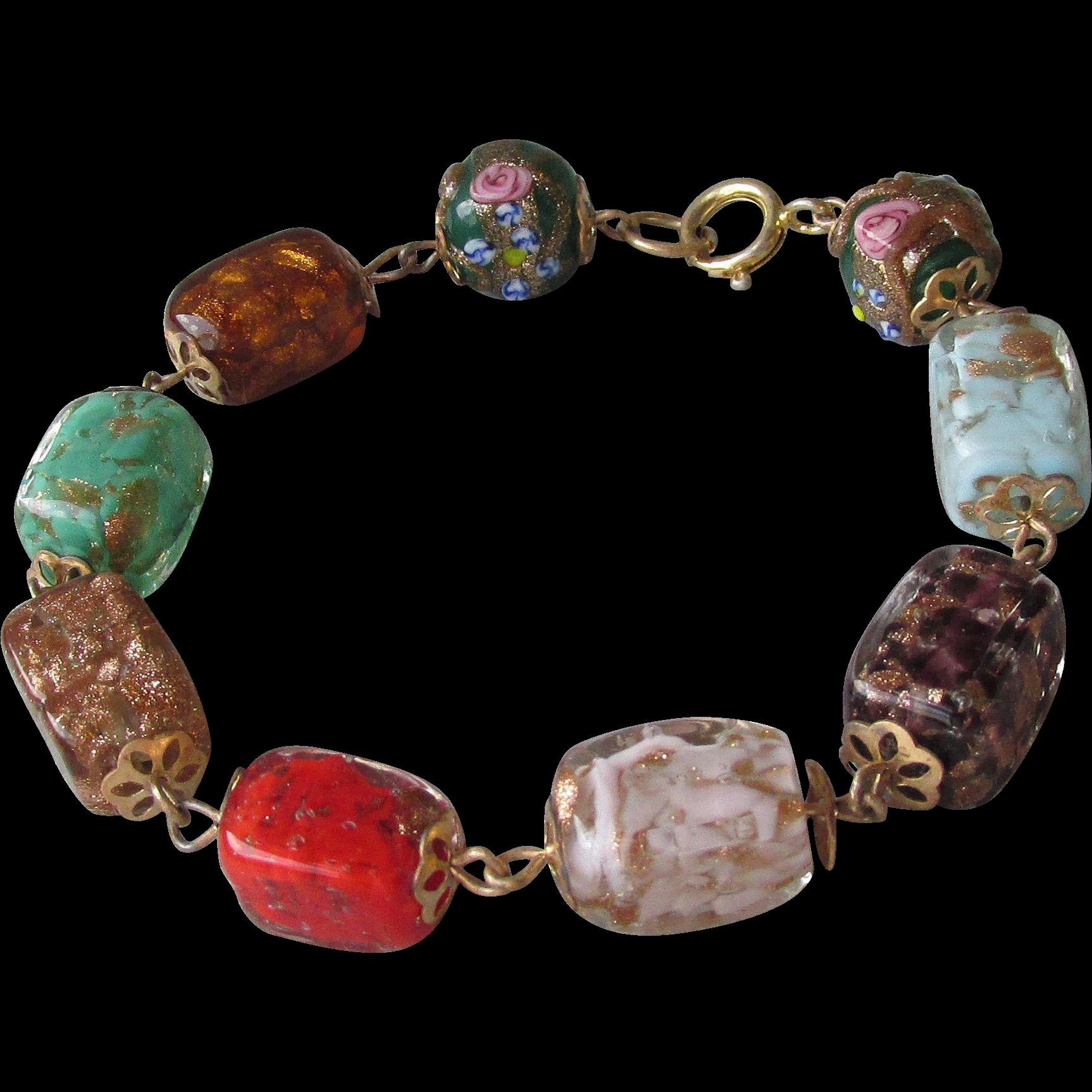 Chunky 1950's Vintage Square Venetian Art Glass Bead Bracelet