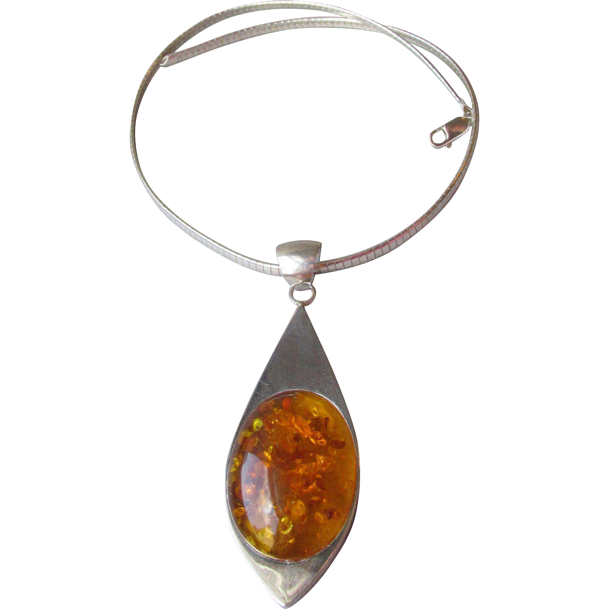 Big Bold Modernist Sterling Silver Omega & Honey Amber Tear Drop Pendant Vintage Necklace