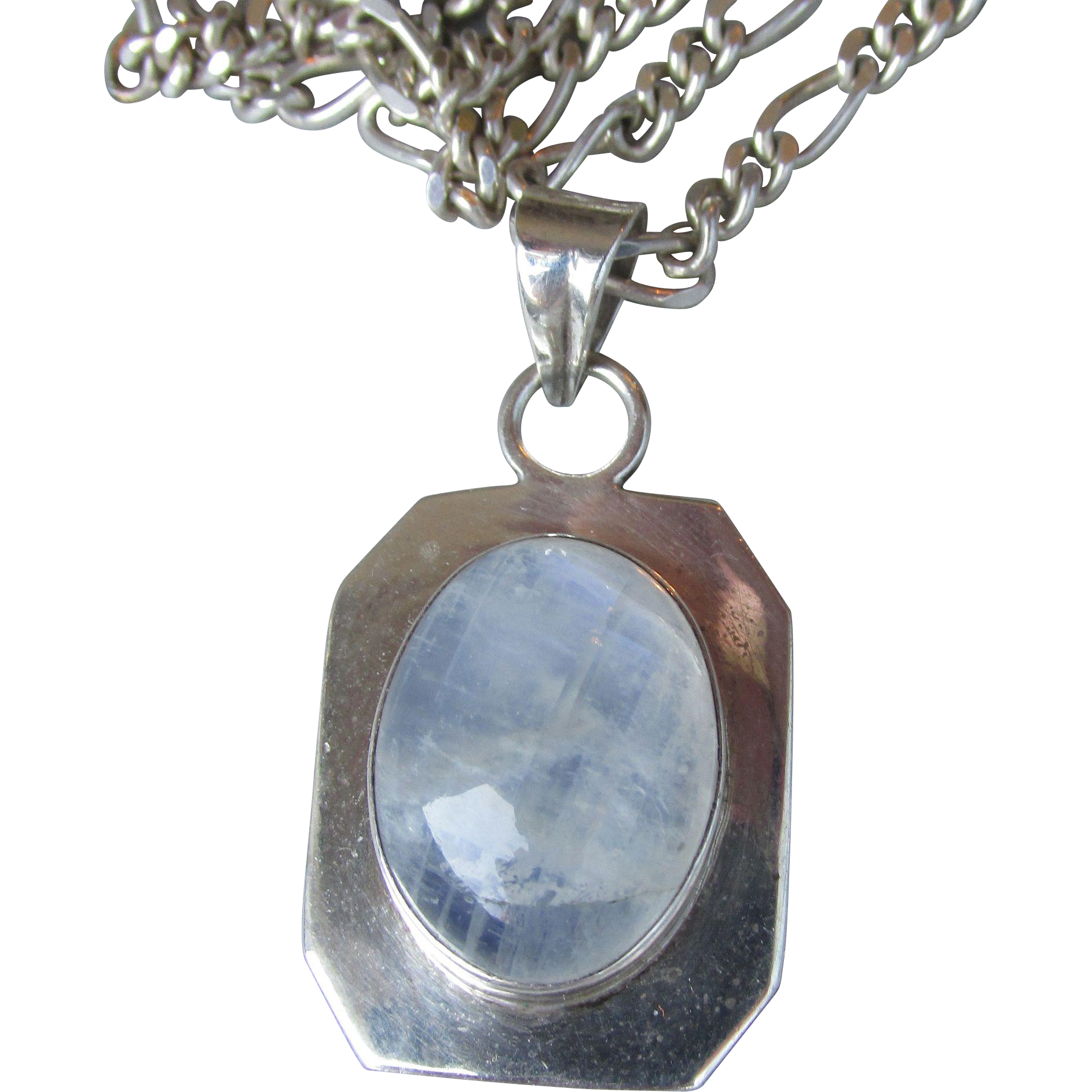"Vintage 30"" Long Moonstone Sterling Silver Pendant Necklace"