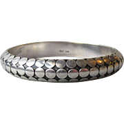 Exquisite Bali Sterling Silver DOTS Vintage Hinged Bangle Bracelet