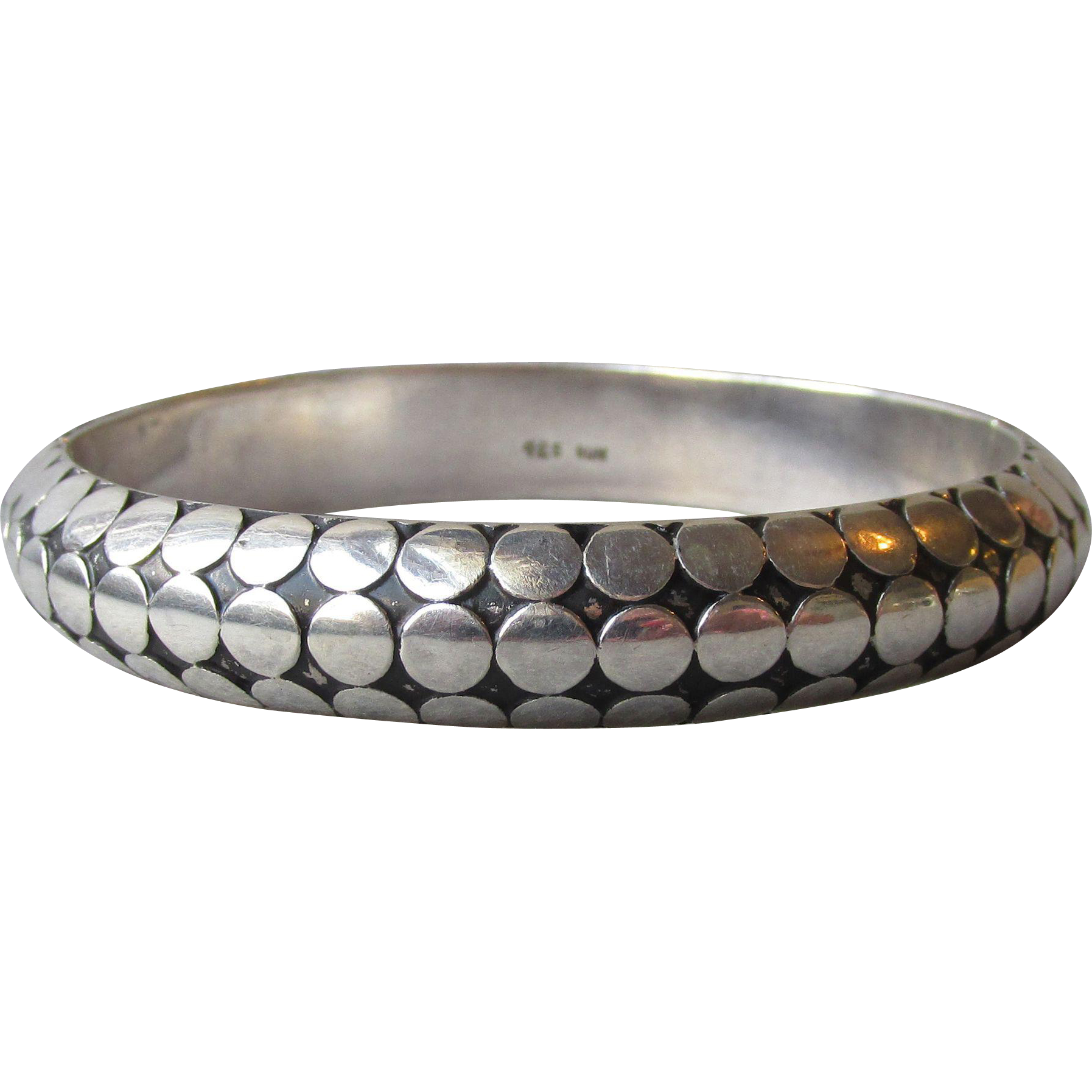 Exquisite Bali Sterling Silver DOTS Vintage Hinged Bangle Bracelet