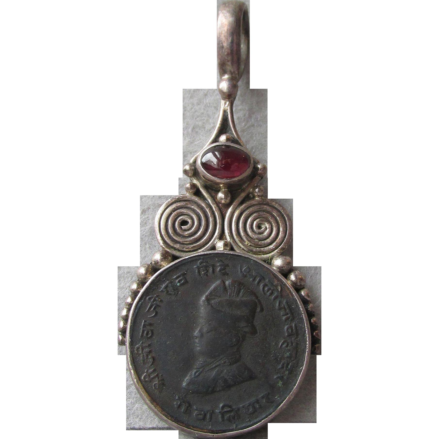 Sajen Bali Sterling Silver & Garnet Unusual Black Coin Pendant