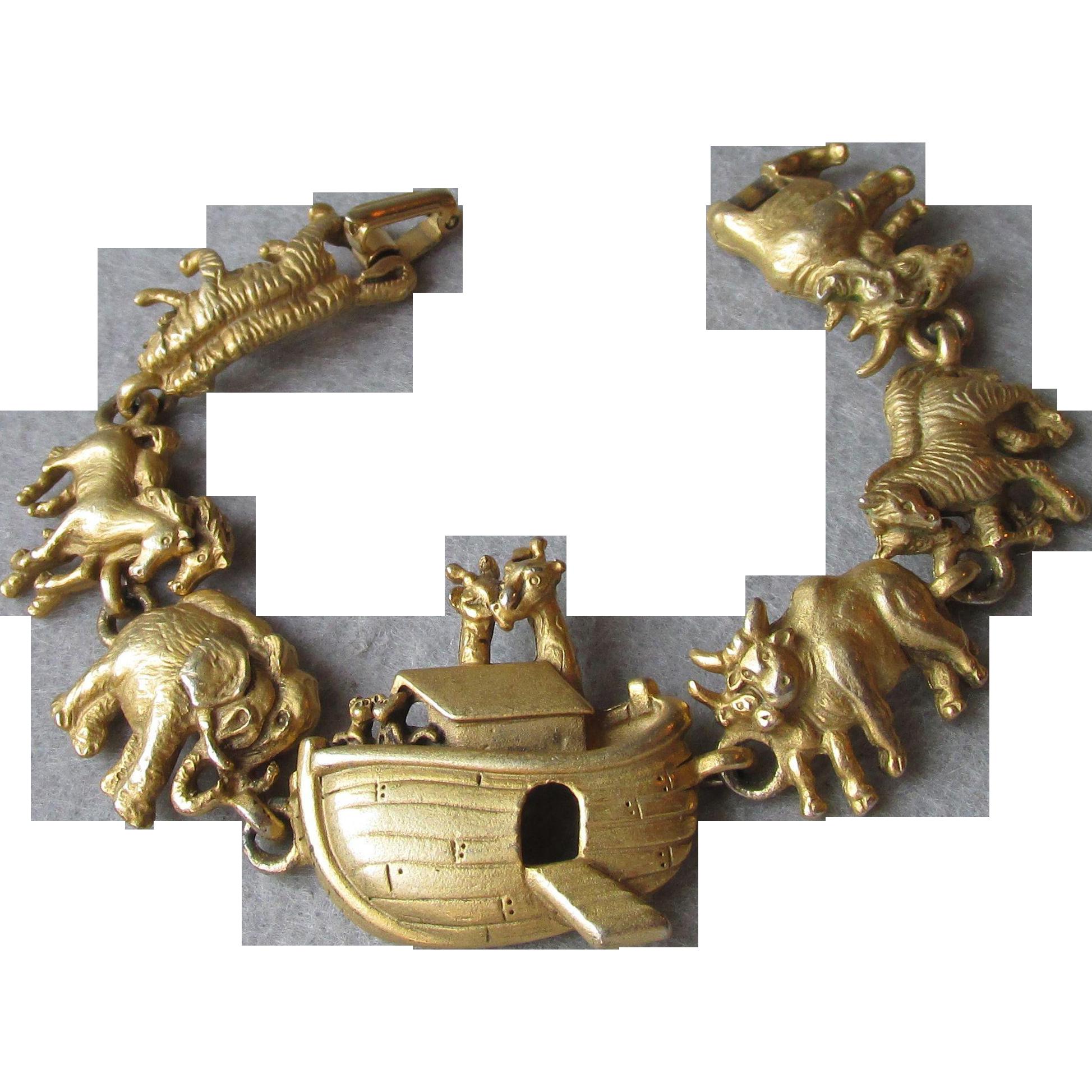 Vintage Signed A.J.C. Noah's Ark Bracelet