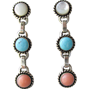 Signed Native American Turquoise, Coral, & Mother of Pearl Vintage Sterling Silver Post Dangle Earrings