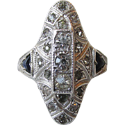 1920's Vintage Art Deco Sterling Silver Paste Faux Diamond & Sapphire Cocktail Ring, Size 5