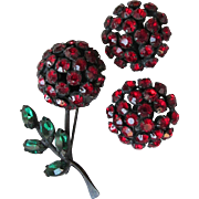 Signed WARNER Vintage Red Rhinestone Black Enamel Japanned Flower Pin & Earrings Set