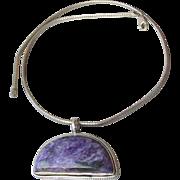 BIG Purple Sugilite Sterling Silver Pendant on Omega Chain Vintage 1990's Modernist Necklace