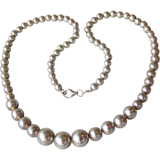 """Classic Italian 18"""" Solid Sterling Silver Graduated Bead Necklace"""