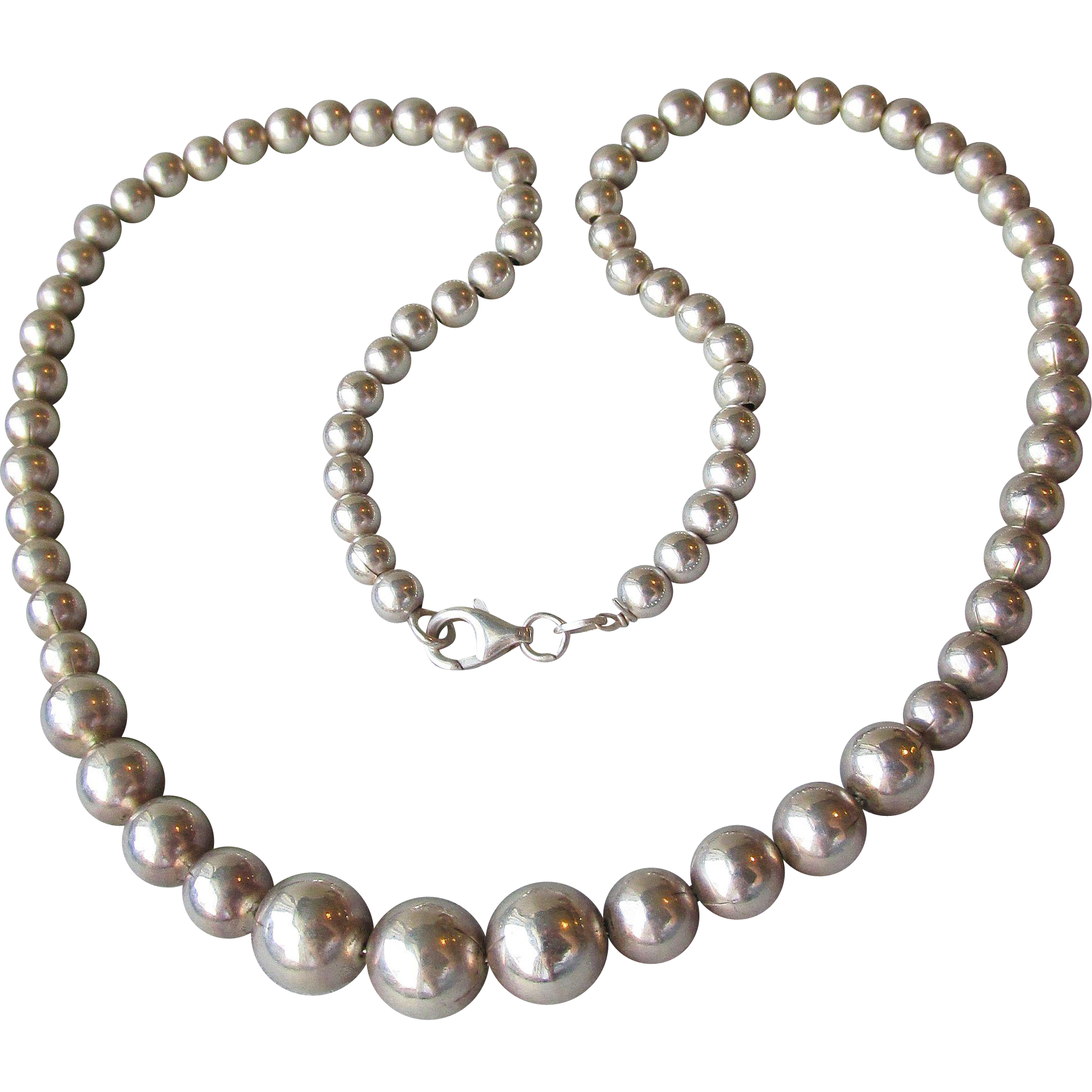 "Classic Italian 18"" Solid Sterling Silver Graduated Bead Necklace"