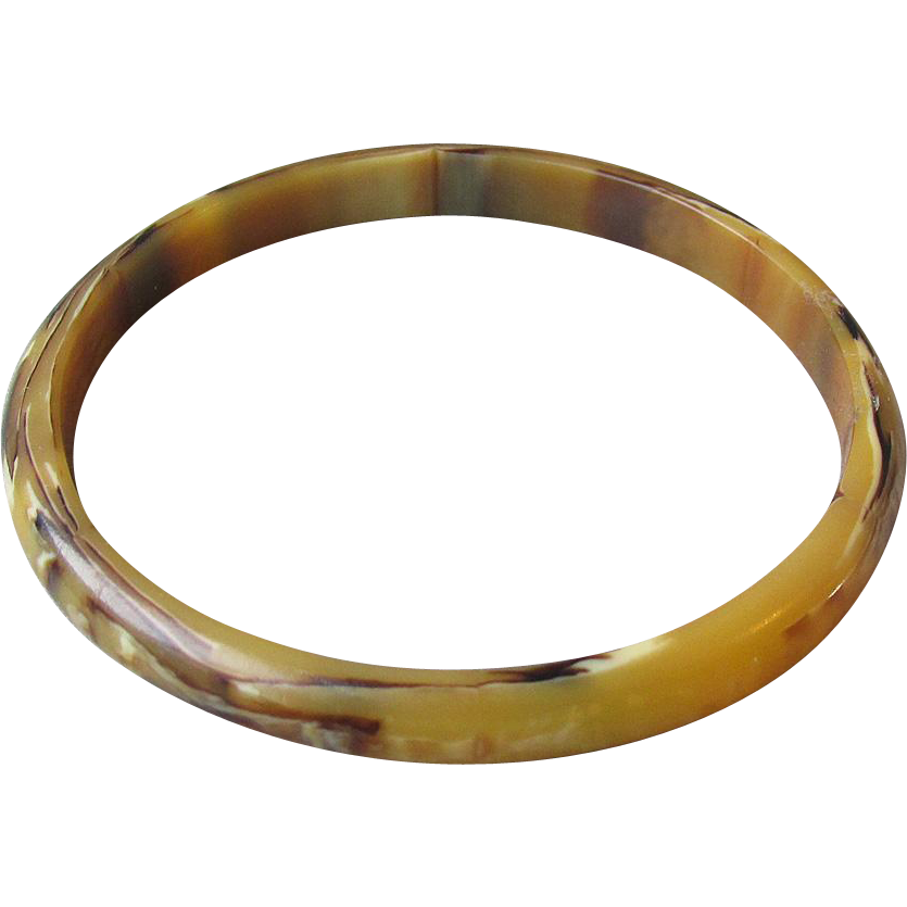 1920's Vintage Thin Marbled Tortoise Shell  Early Lucite Bangle Bracelet