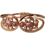 1950's Vintage Goldstone Rose Gold-Tone Clamper Hinged Cuff Bracelet, Size Small
