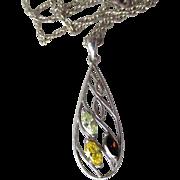Pretty Sterling Silver Citrine, Peridot & Garnet Open Work Tear Drop Pendant Necklace
