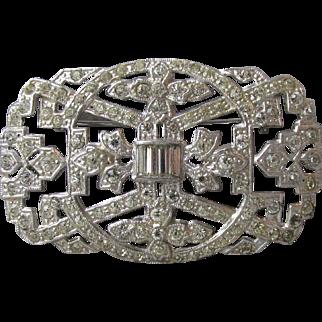 Magnificent 1930's Art Deco Diamante Rhinestone Rhodium Plated Brooch, Large Vintage Pin