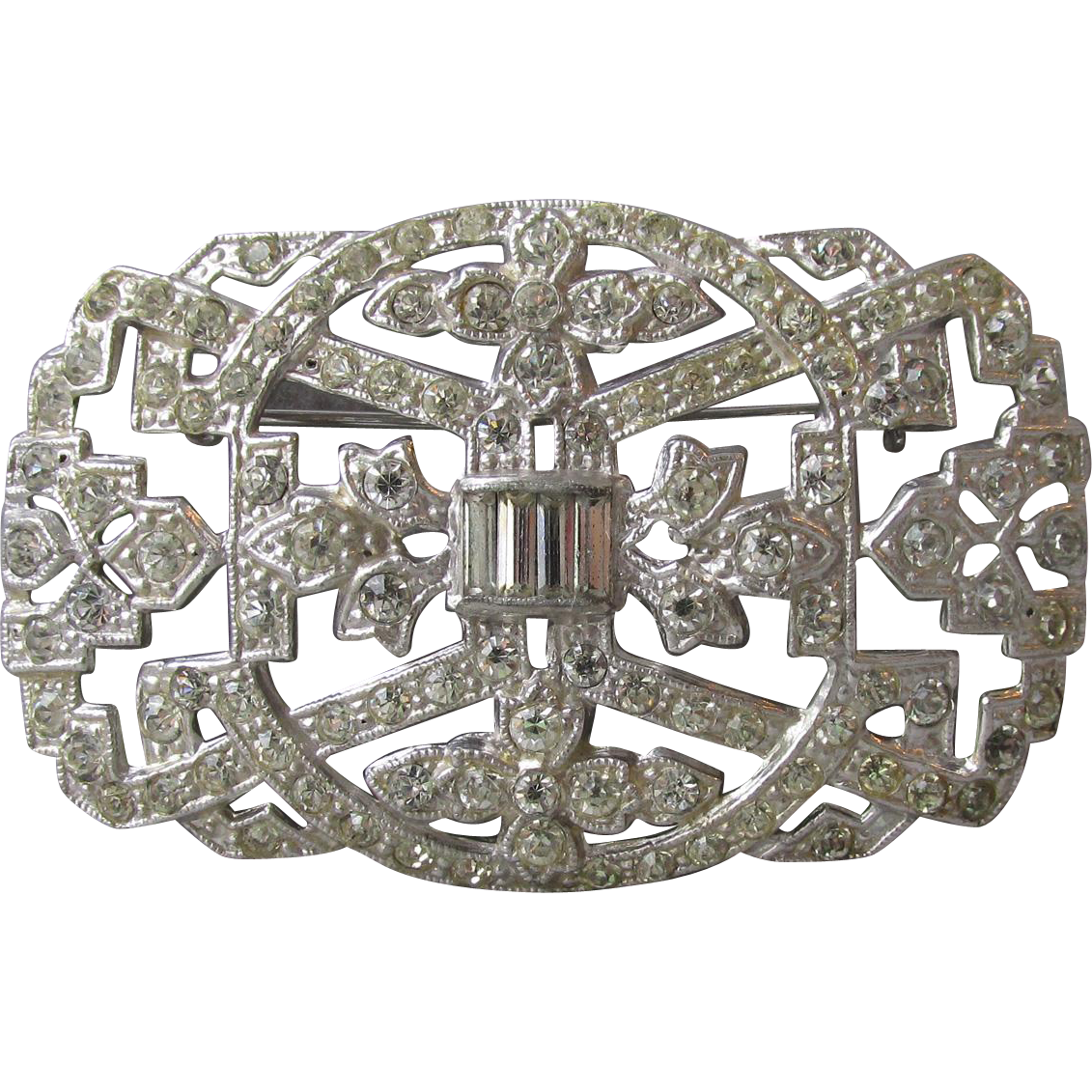 Magnificent 1930's Art Deco Diamante Rhinestone Rhodium Plated Brooch, Large Vintage Pin