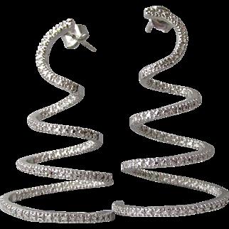 3-D Long Spiral Textured Sterling Silver Pierced Earrings