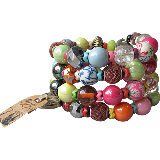 Summer FUN - Wild Colorful 4-Coil Memory Wire Bead Artisan Bracelet