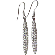 Vintage Canada Sterling Silver & White Enamel Long Slender Sparkling Rhinestone Dangle Pierced Earrings