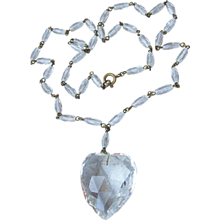 1920's Vintage Crystal HEART Pendant & Glass Bead Chain Flapper Necklace