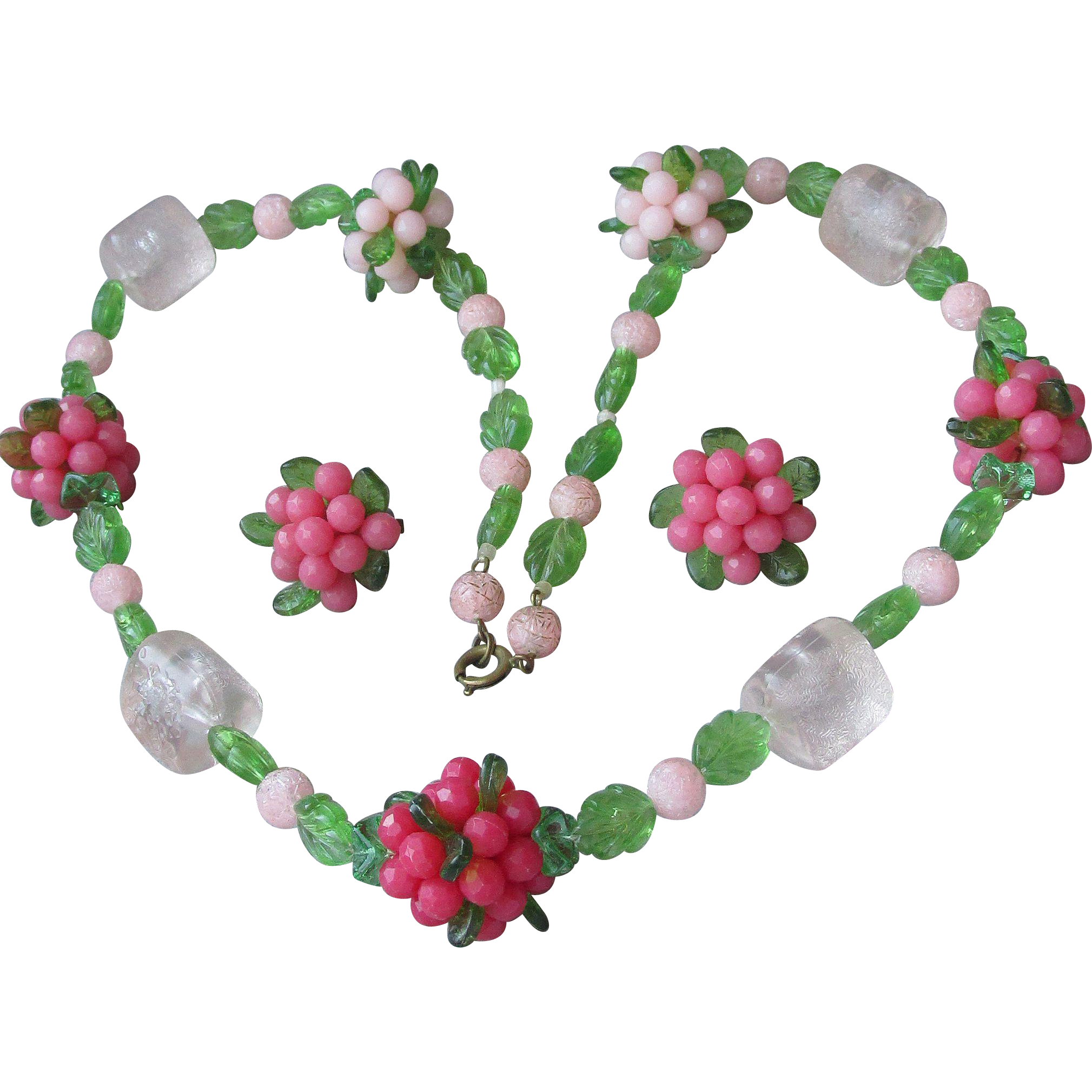 Fabulous Vintage Lucite Pink Flower Bouquet Necklace & Earrings Set