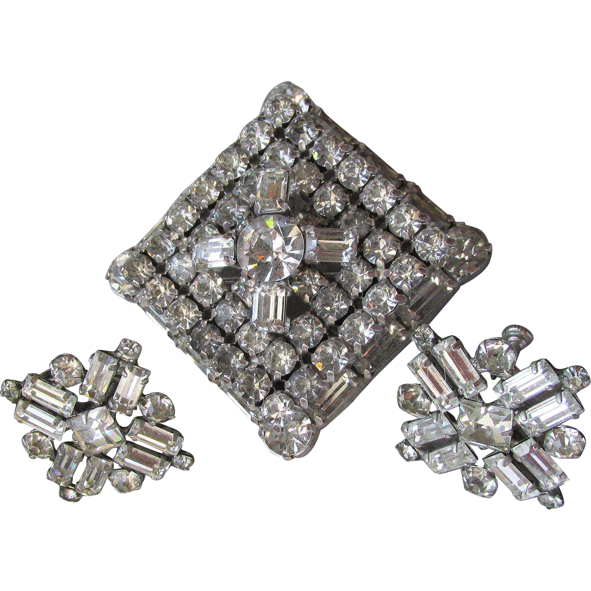 Brilliant Vintage Signed Kramer of New York Square Rhinestone Pin & Unsigned Earrings