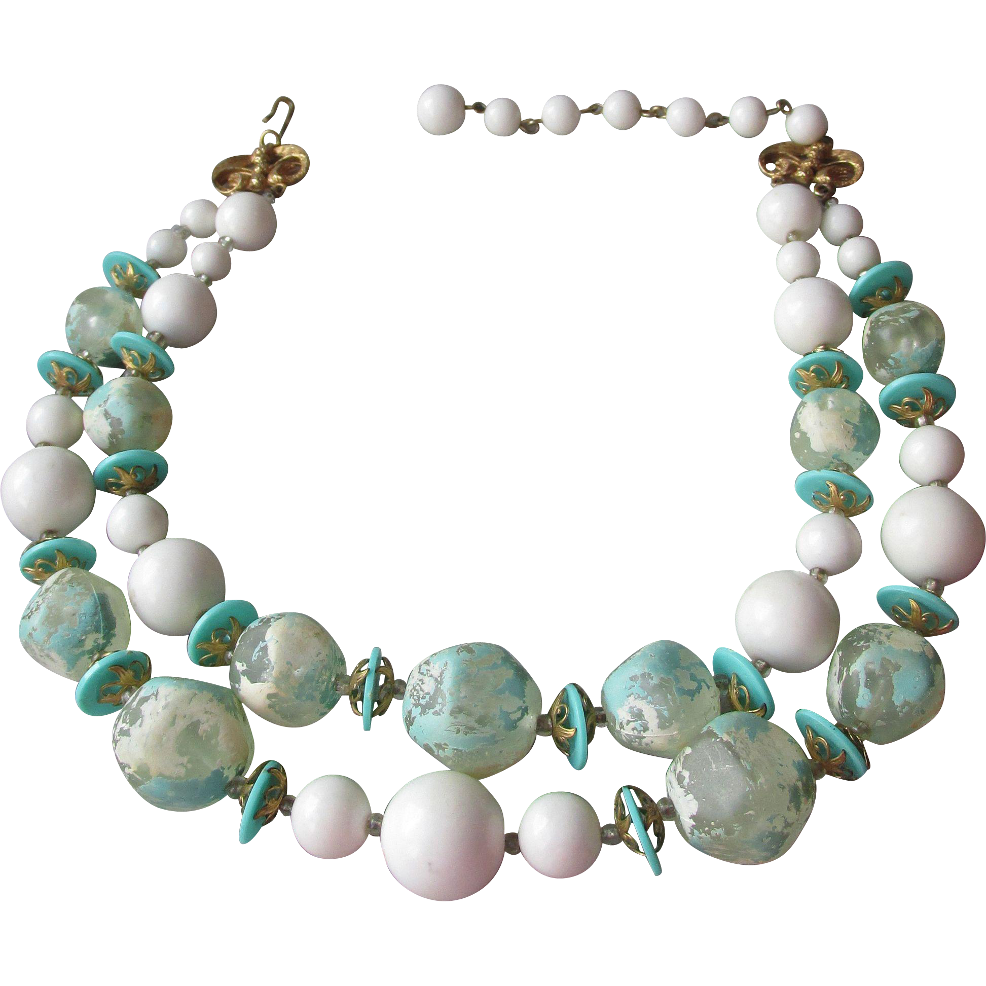 Vintage Signed DEAUVILLE 2 Strand Op Art Turquoise & White Lucite BIG Bead Necklace
