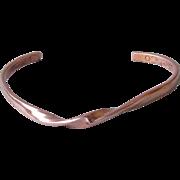 Vintage Twist Copper Cuff Bracelet Signed Sergio Lub California, Unisex Size XL
