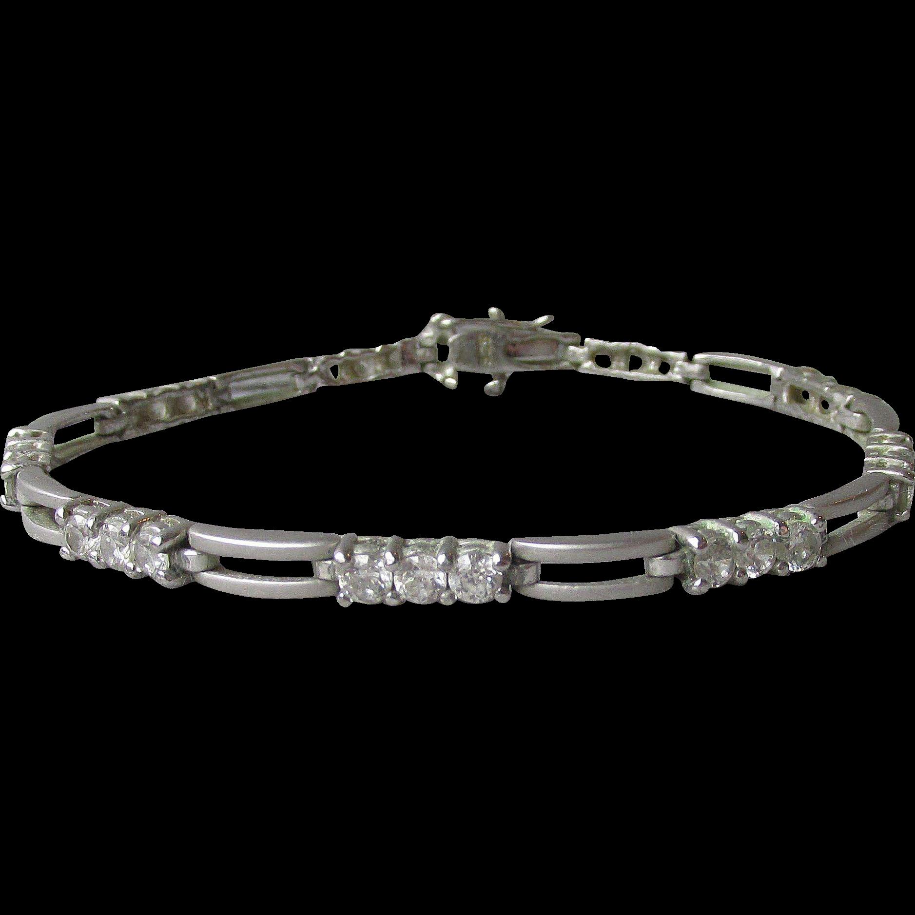 Matte Textured Sterling Silver Open Work Link CZ 1980's Vintage Tennis Bracelet