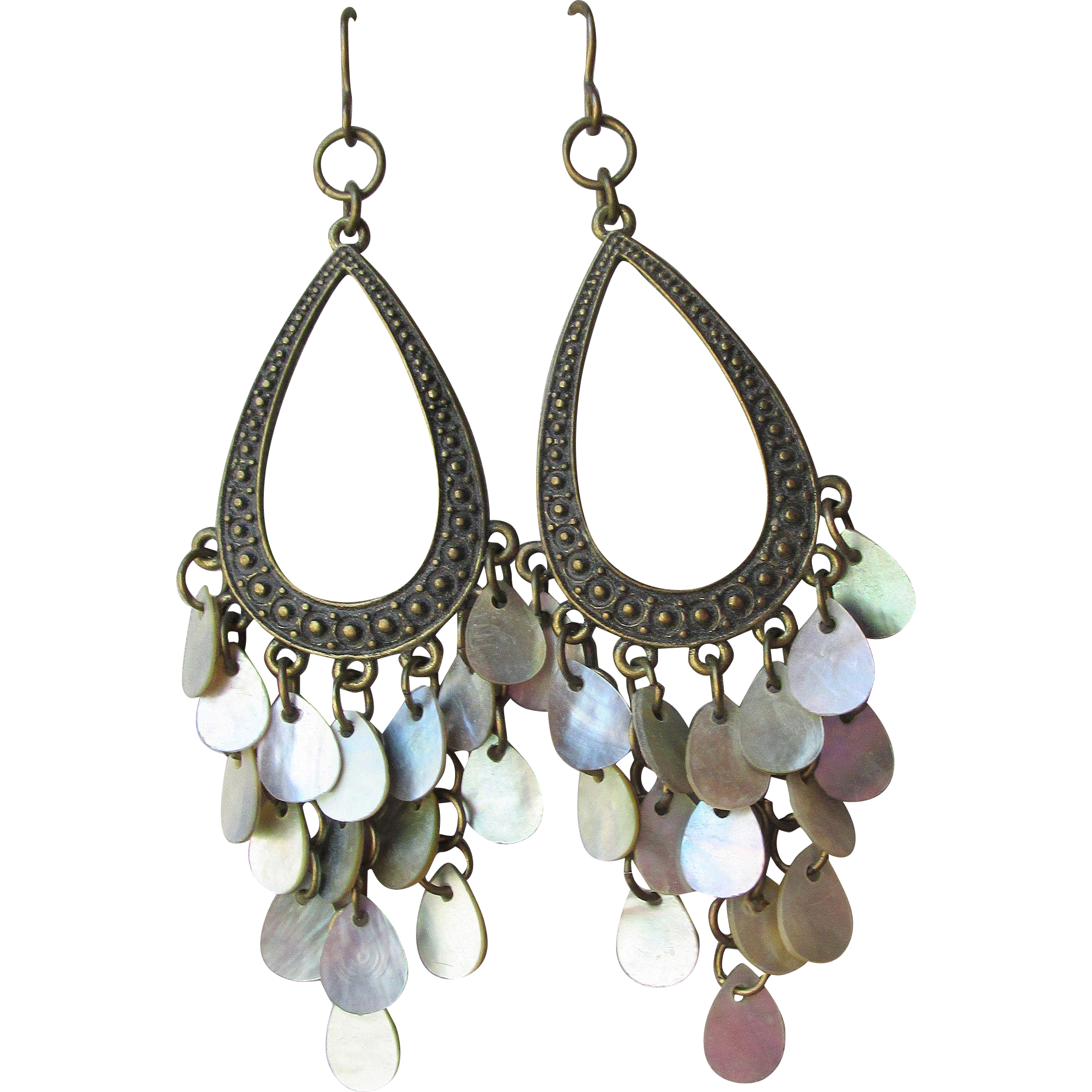 Big Brass Iridescent Shell Dangle Disks Vintage Chandelier Earrings