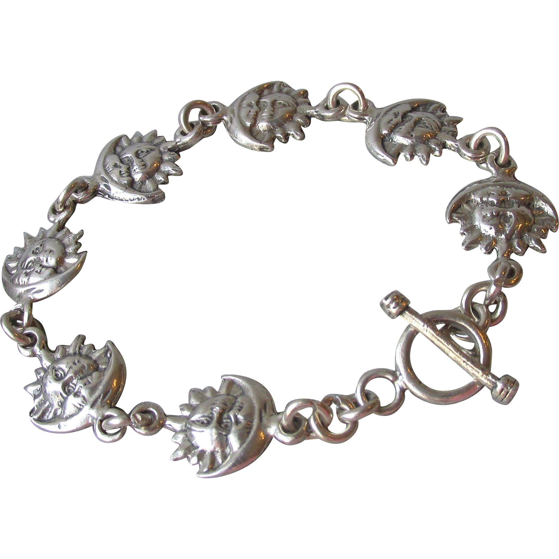 Sterling Silver Moon & Sun Face Link Vintage Toggle Bracelet, Size Large 7 3/4""
