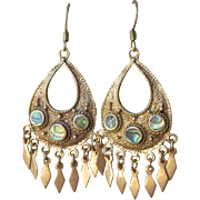 Beauties! Gilt Brass & Abalone Dangle Vintage 1960's Hippie Earrings
