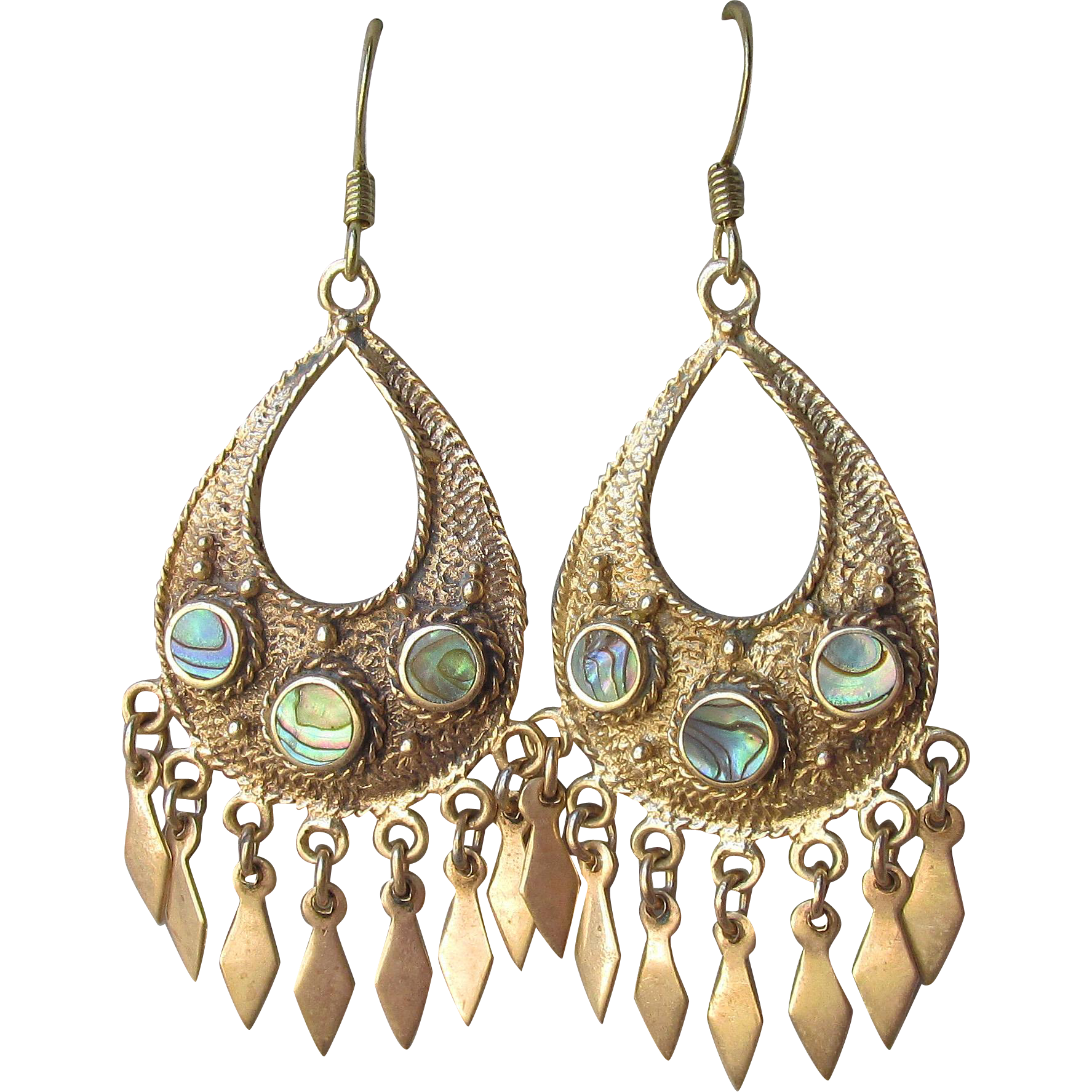 Beauties! Gilt Brass & Abalone Dangle Vintage 1960's Hippie Earrings