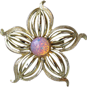 1960's Vintage Harlequin Foil Glass Faux Opal Flower Pin