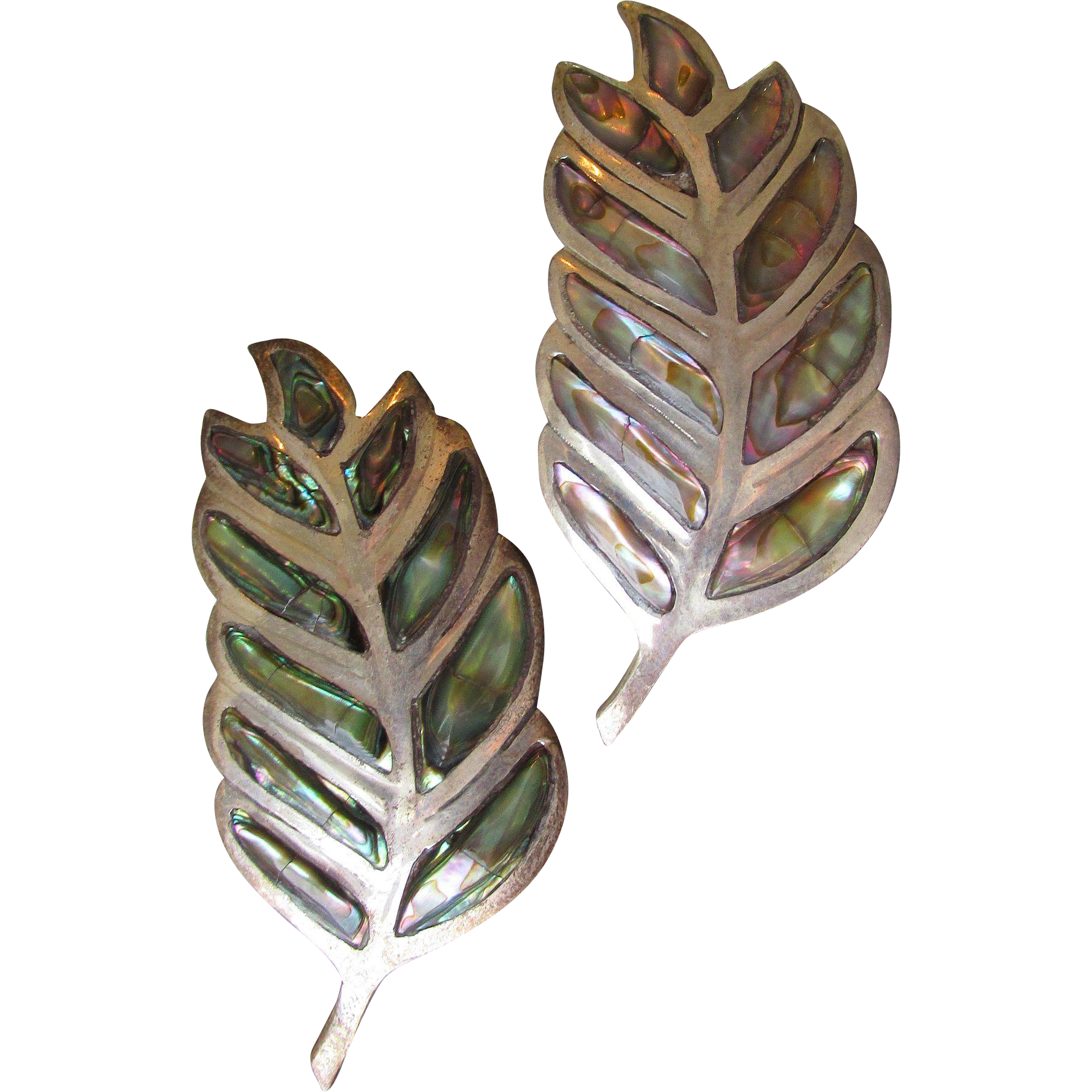 Pair Taxco Mexico Sterling Silver with Abalone Large LEAF Pins, Vintage Brooch Eagle MArk