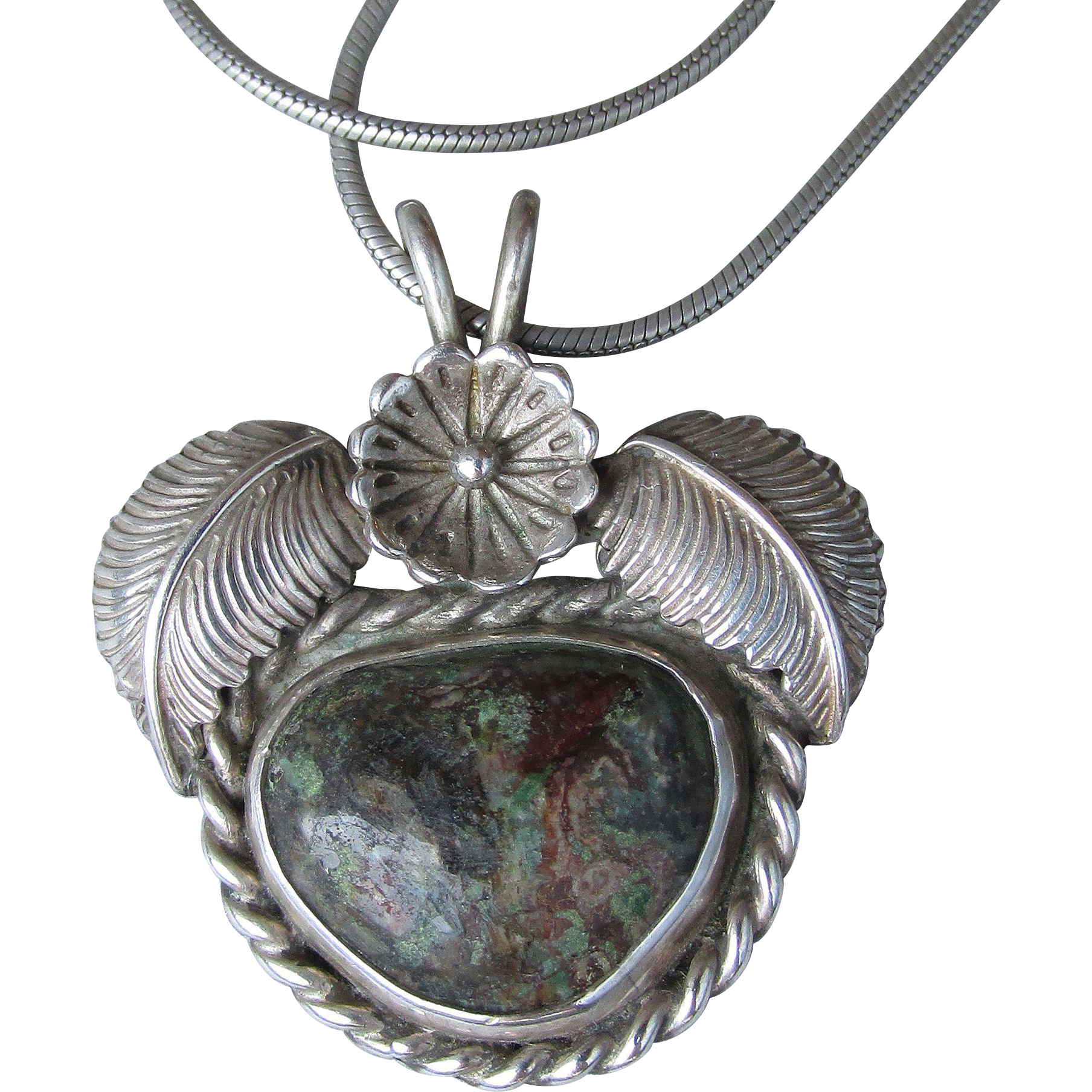 Navajo Native American Jasper Feather & Flower Vintage Sterling Silver Pendant Necklace