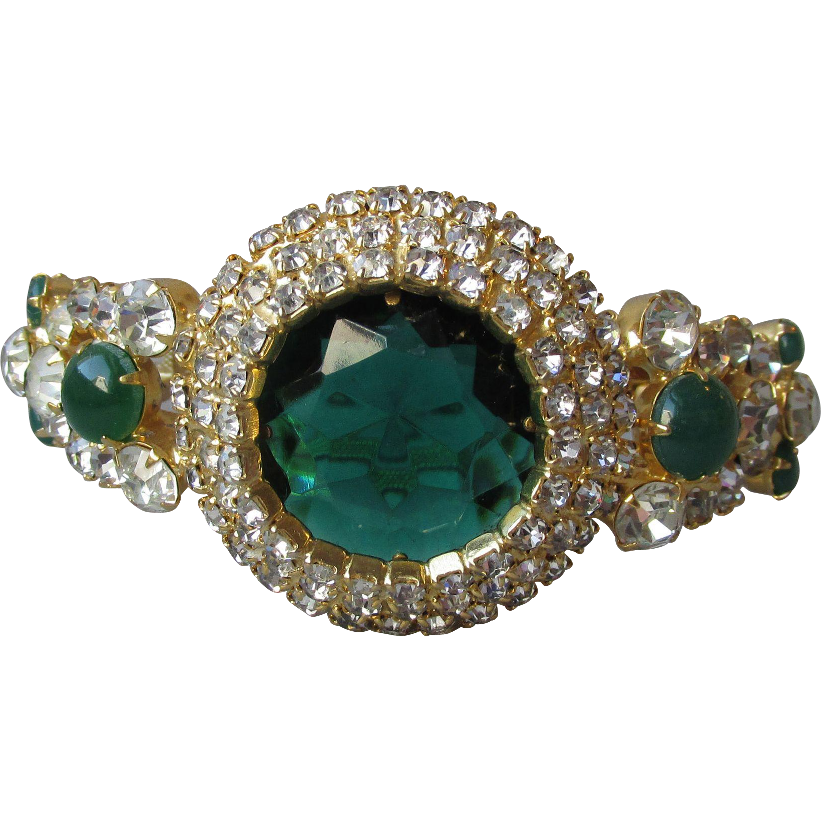 Vintage Juliana DeLizza & Elster Emerald Green Rhinestone Hinged Bangle Bracelet