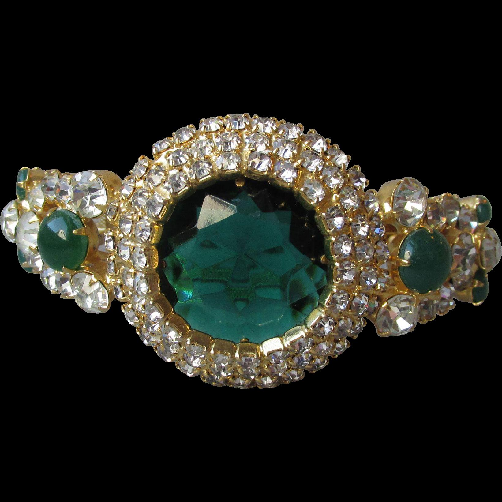 Magnificent Juliana DeLizza & Elster Emerald Green Rhinestone Clamper Bracelet