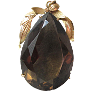 Outstanding 50 Carat Smoky Quartz Pear Pendant in 14k Yellow Gold 1950's Foliate Frame