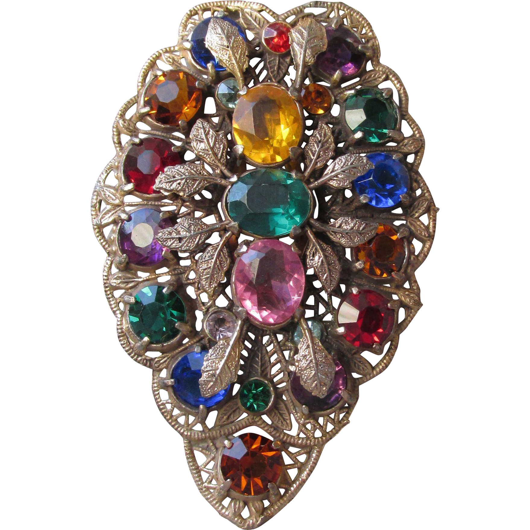 "Massive 3 1/2"" Vintage 1930's Multi Color Rhinestone Gilt Brass Deco Leaf Dress Clip Brooch Pin"