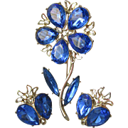 Gorgeous Vintage 1960's Signed DODDS Big Vibrant Blue Rhinestone Flower Pin & Earrings Set