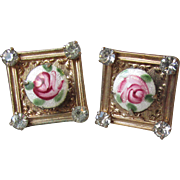 WEISS Signed Vintage Guilloche Rose Rhinestone Square Earrings