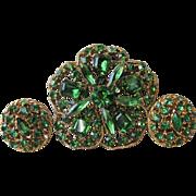 Vintage BIG Emerald Green Rhinestone Clover Pin & Earrings Set