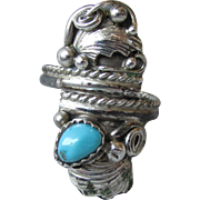 Navajo Native American Vintage Sterling Silver & Turquoise Feather Ring, Unusual Adjustable Size
