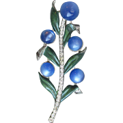 Adolph Katz for CORO 1940 Blue Moonglow & Enamel Flower Spray Pin
