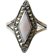 Vintage Sterling Silver & Marcasite with Pink Mother of Pearl Diamond Shaped Ring, Size 8