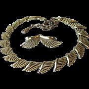 Signed CORO Vintage 1950's Modernist Fan Link Necklace & Earrings Set