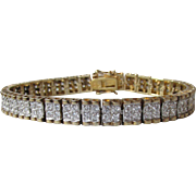 Wide Sterling Silver Vermeil Double Row CZ Vintage Tennis Bracelet