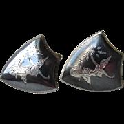 Vintage Siam Sterling Silver Black Enamel Niello Dancer Goddess Shield Shaped Cufflinks